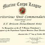 Meritorious Unit Commendation--support of Dept of FL Injured Warriors Project,  October 2014