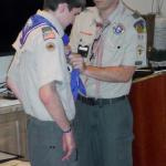 Nicholas R Lomas, Troop #951, receiving Eagle Kerchief from Scout Master 03.07.2015