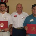 Vincent Giannone, Eagle Scout; Joe Johnston, Commandant;