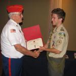 Jerry Van Hecke presenting certificate to Nolan O'Malley, 30 May 2012