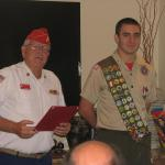 Jerry Van Hecke, Detachment Boy Scout Liaison and Justin Freedman,  08.05.2012