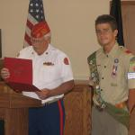 Jerry Van Hecke, Detachment Boy Scout Liaison and Marshall James King, 08.07.2012