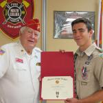 Andrew Mizell, Troop #2001,  05.27.2017 Certificate presented by Det 063 Eagle Scout Liaison, Jerry Van Hecke