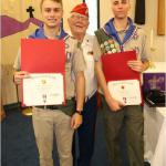 Cole O Wilkinson, Dylan W Delehanty, Troop #2014, with Jerry Van Hecke, Detachment Eagle Scout Liaison -- 04.07.2019
