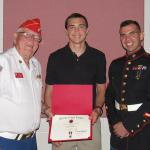 Jerry Van Hecke, Detachment Eagle Scout Liaison, Robert C Brown IV, Troop #243 and Sgt Alexander Roa, USMC