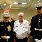 "Brigadier General Draude, Oldest Marine:  Harold ""Pappy"" Wagner -- 95 and  Youngest Marine -- Cpl Jovanov -- 23"